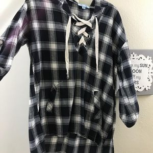 Lace up plaid with hood